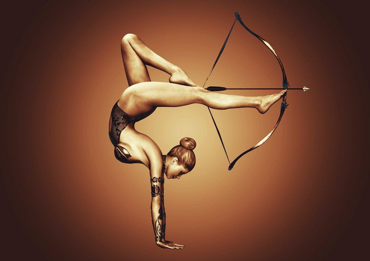 girl, sport, bow