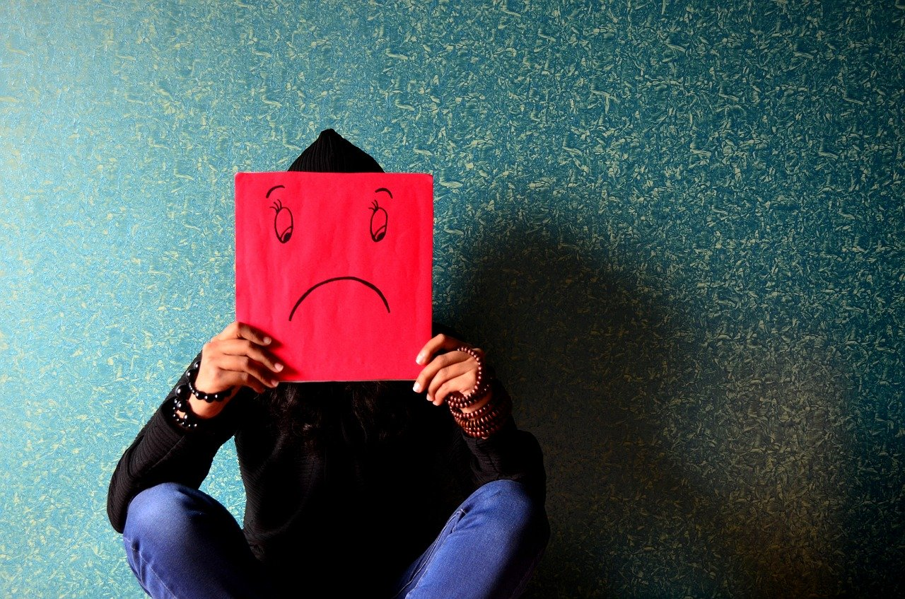 unhappy, man, mask